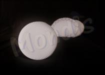 Plato de cartón blanco de 21 cm especial para blondas rodal. Caja con 8 paquetes de 100 platos. Paquetes de 100 Platos.